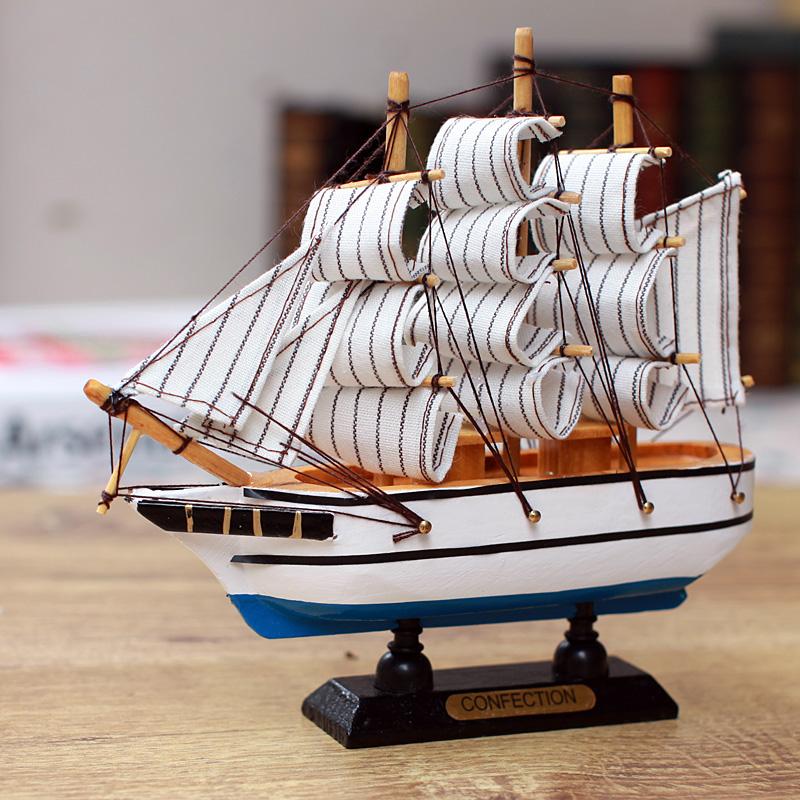 Ocean series sailing boat decoration ship model wooden sailing boat model 16cm 3(China (Mainland))