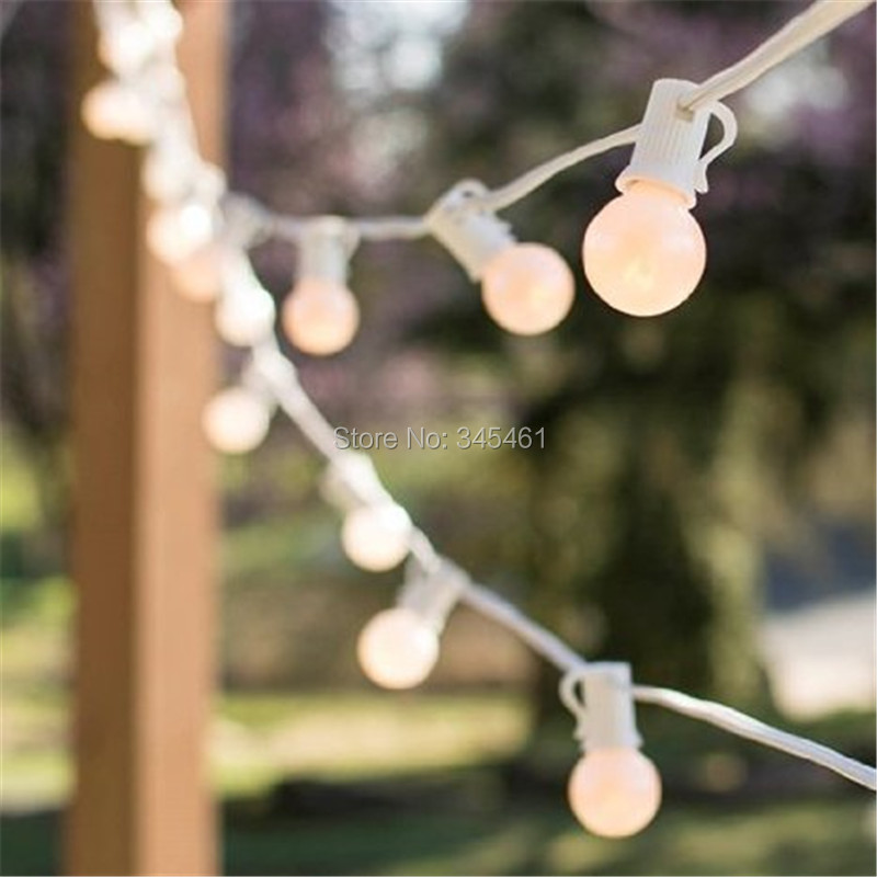 10X Romantic Lights G30 Milky Globe String Light , with 25 Bulbs, 7.5M 25ft Long White Cable, Outdoor Light String for Wedding<br><br>Aliexpress