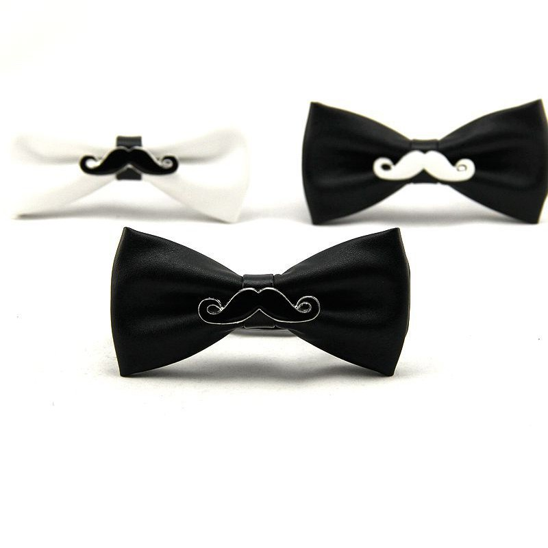 Fashion Mens PU Leather Black Bowtie for Bridegroom Wedding Gravata Slim Tuxedo Vestidos Skinny Cravat Neckwear Accessories3
