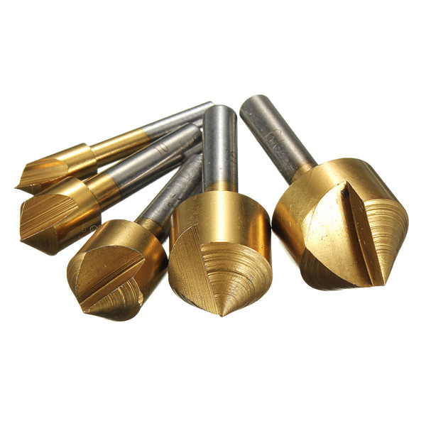 Hand Tools 5pcs Metric 6mm 10mm 13mm 16mm 19mm Titanium Coated Countersinks Single Blade 82 Degree Chamfering Cutter Chamfer Dri(China (Mainland))