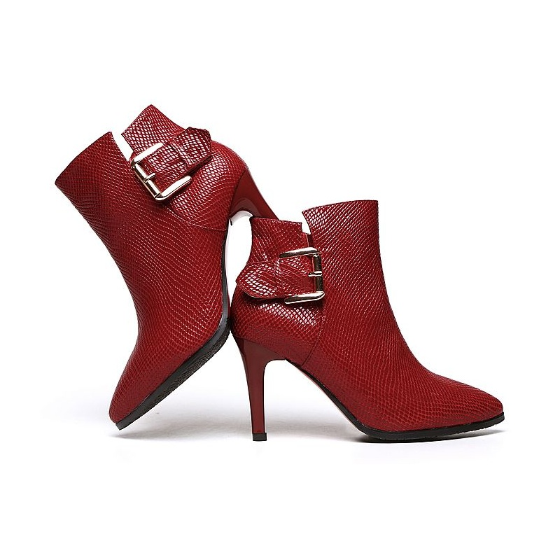 Large Size 40 Women Ankle Boots Heels 2015 Spring autumn black red High Heel Shoes Platform cowhide Woman