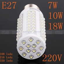 E27 220 V 7 W 108 leds blanco cálido y blanco de la naturaleza LED lámparas de ahorro de energía brillante 360 Degree(China (Mainland))
