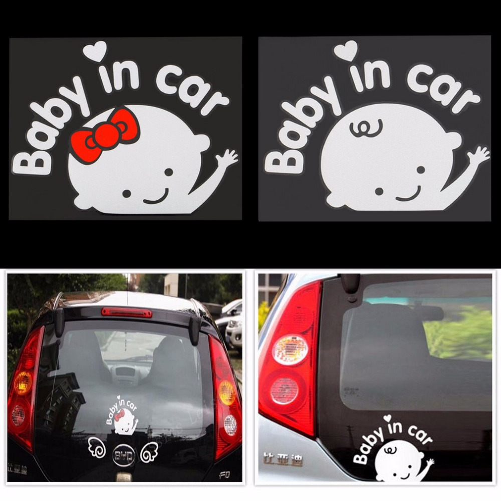 Free shipping 3D Cartoon Car Stickers Reflective Vinyl Styling Baby In Car Warming Car Sticker Baby on Board On Rear Windshield~(China (Mainland))