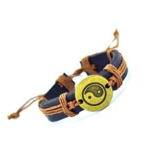 2015 Genuine Leather Tai Chi Charm Bracelet Cuff Braided Wrap Antique Bronze Pendant Bracelet & Bangles Fashion For Women Men