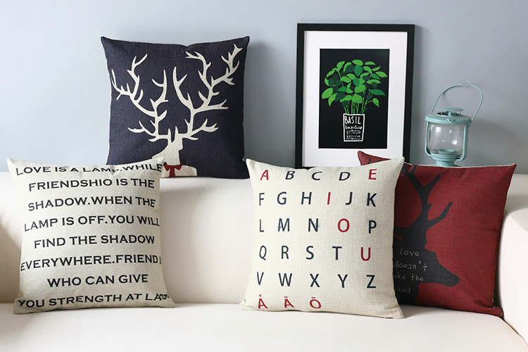 Scandinavian style Cushion Creative cartoon alphabet Decorative Pillows Simple Modern Decorative Cushion Covers free shipping