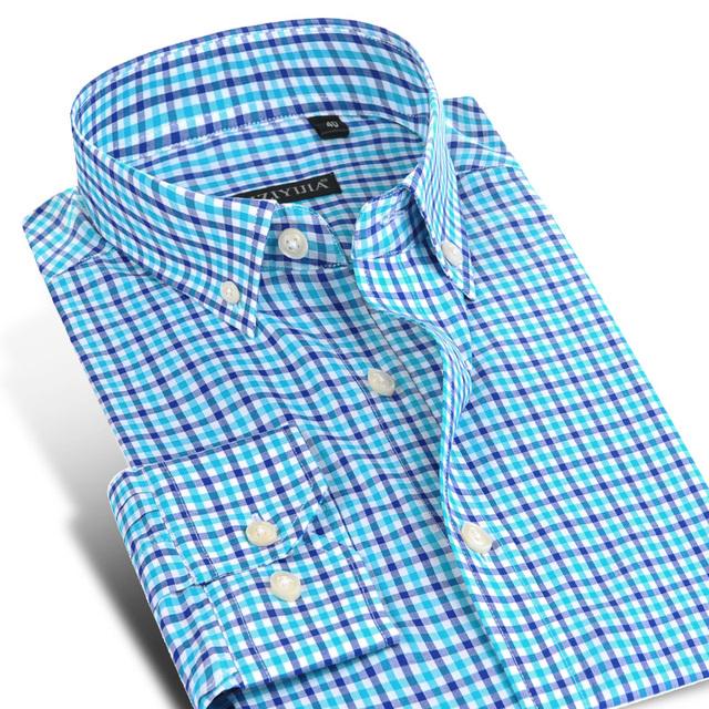 2016 мода плед хлопковые рубашки мужчины с длинными рукавами комфорт мягкая Slim ...