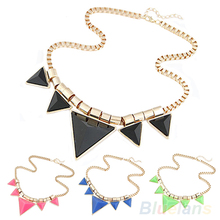 2014 New Fashion Womens Vintage  Unique Jewelry Gold Metal Necklace Triangle Gems Pendant Chain  Necklace