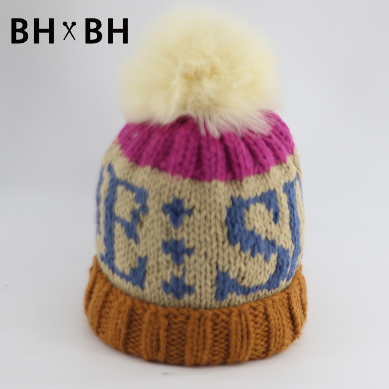 Hot sale casual women knitted cap soft beanies letter pattern fashion skullies warm hat mixed colors with Fur Pom BH-B2702(China (Mainland))
