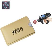 Aluminium métal crédit Anti Rfid portefeuille blocage lecteur serrure porte carte bancaire ID porte-cartes de banque entreprise Protection rouge Laser(China)