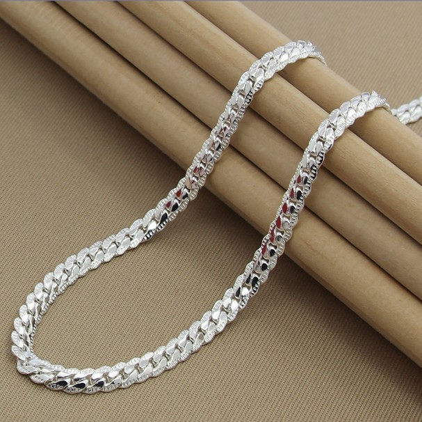 Hot Free ship 925 sterling silver Female women men's male chain Link necklace Pendant party Best friend Birthday gift box KX-130(China (Mainland))