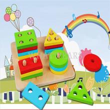 Educational Wooden Geometric Sorting Board Blocks Montessori Kids Baby Educational Toys Building Blocks(China (Mainland))