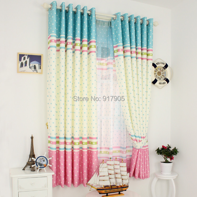Cute Custom Made Cartoon Little Stars Curtains For Living Room Romantic Fashion Girls Room