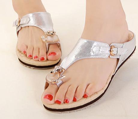 Flip Flops Fashion Solid Women Shoes Rhinestone Woman Sandals Size Color White Gold - Flower store