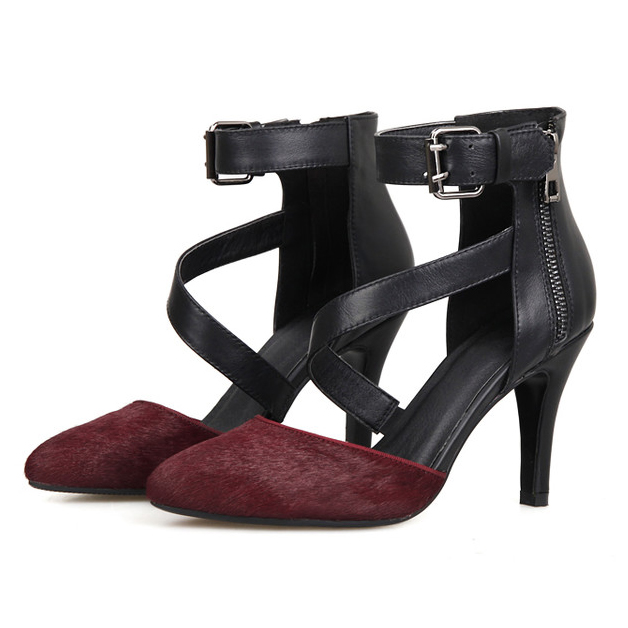 (Wine red / Black)2016 Women Fashion Mixed Colors Buckle Strap Pointed Toe Cover Heel High Heel Sandals Party Sandals<br><br>Aliexpress