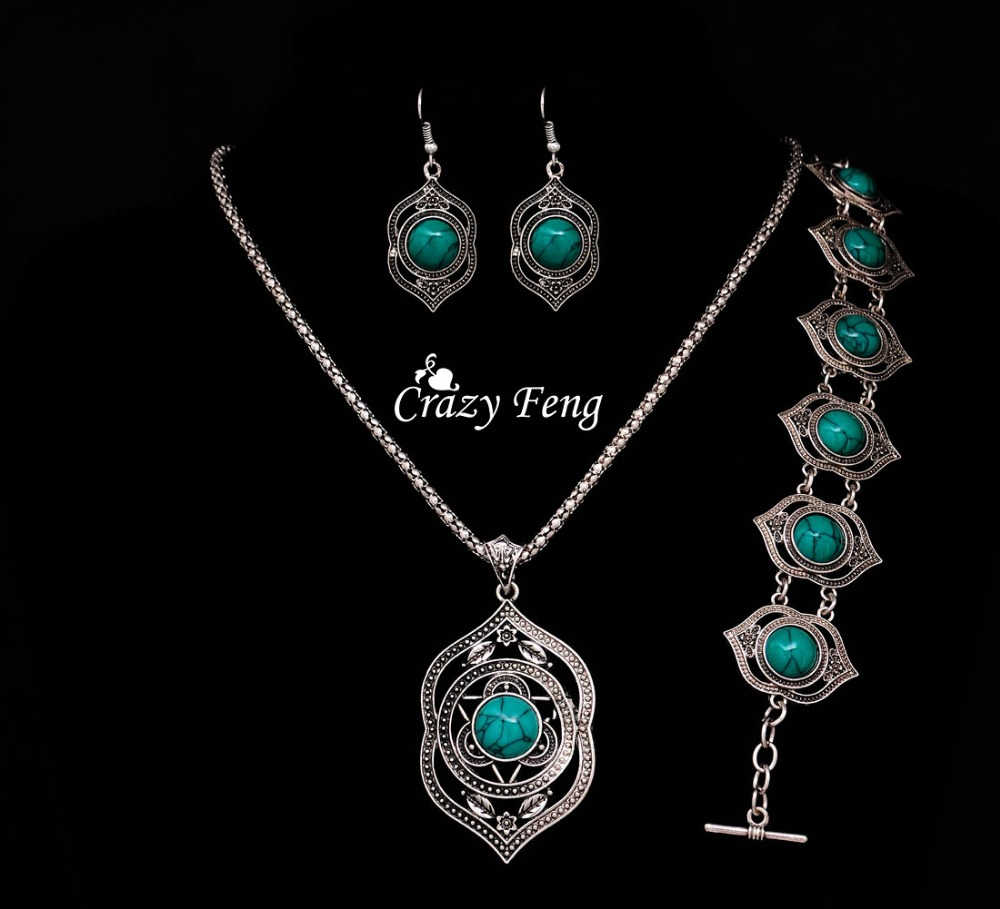 Free shipping Necklace earrings bracelet Wholesale price Silver plated Turquoise jewelry sets gift african beads jewelry set(China (Mainland))