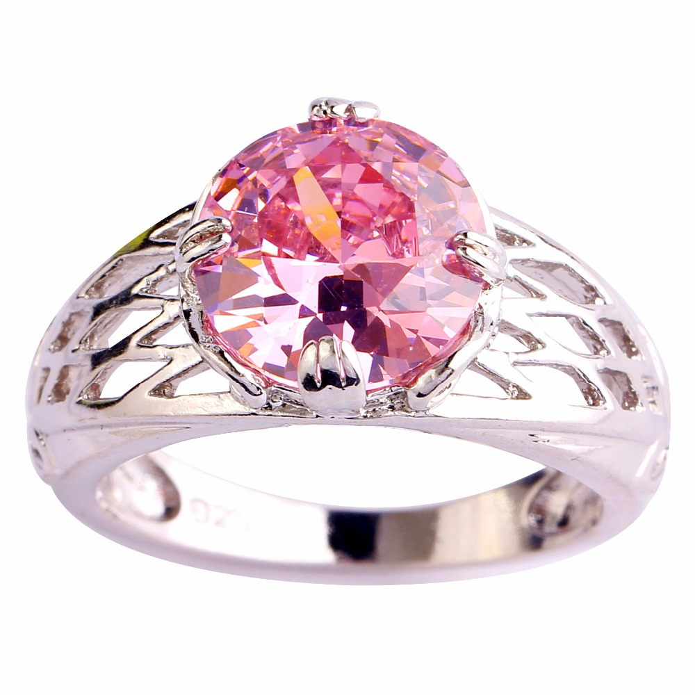 Wholesale Round Cut Pink Topaz & White Topaz 925 Silver Ring Size 6 7 8 9 10 11 12 Love Style Women Gift Free Shipping(China (Mainland))