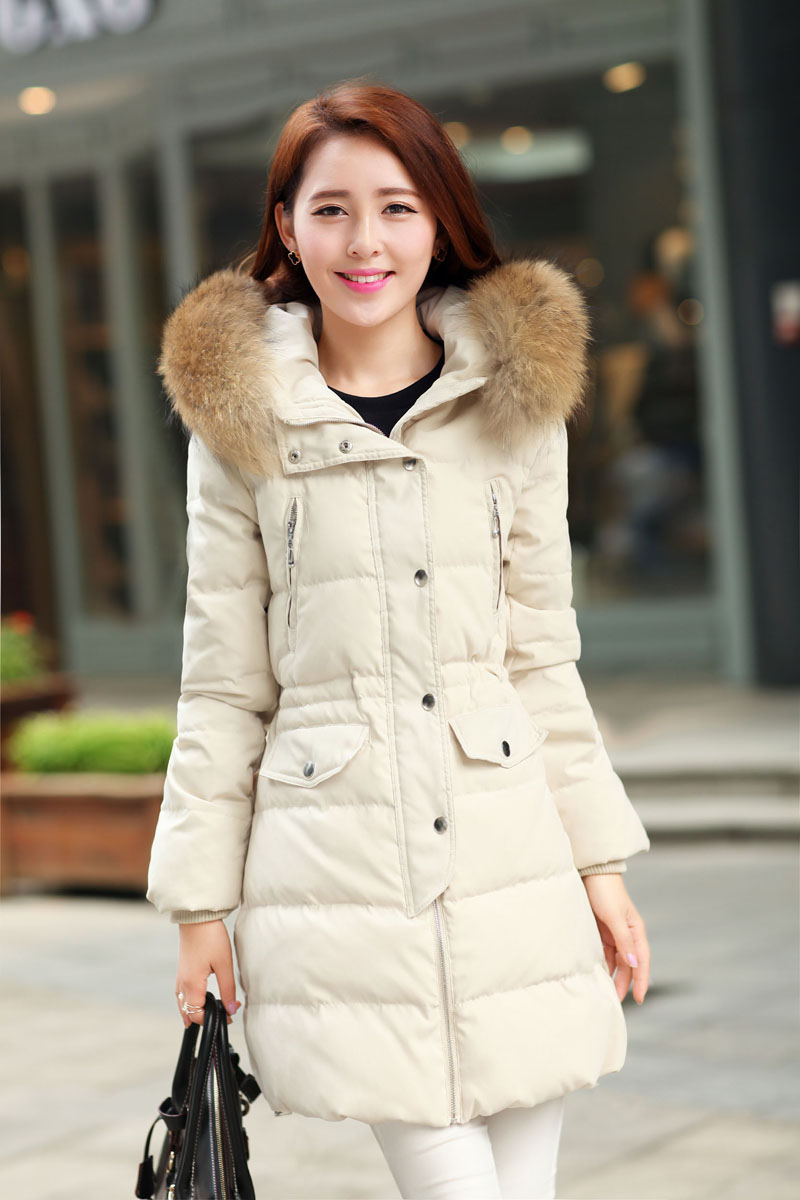 2014 New Winter White Duck Down Fur Collar Slim Ladies Hooded Long Down Coat Women Warm Jacket Casaco De Inverno FemininaОдежда и ак�е��уары<br><br><br>Aliexpress