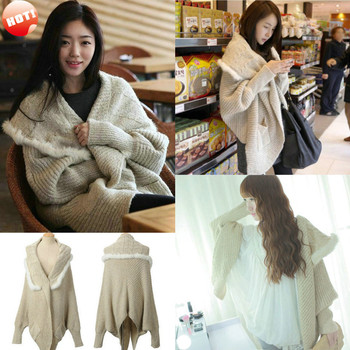 New Women High Quality Loose Fit Cable Knit Batwing Wool Cape Cardigan Wrap Swing Sweater Poncho Shrug Shawls Jacket Coat