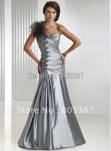 ed000103 free shipping Evening Dress Silver grey Satin one shoulder Sleeveless Floor-Length(China (Mainland))