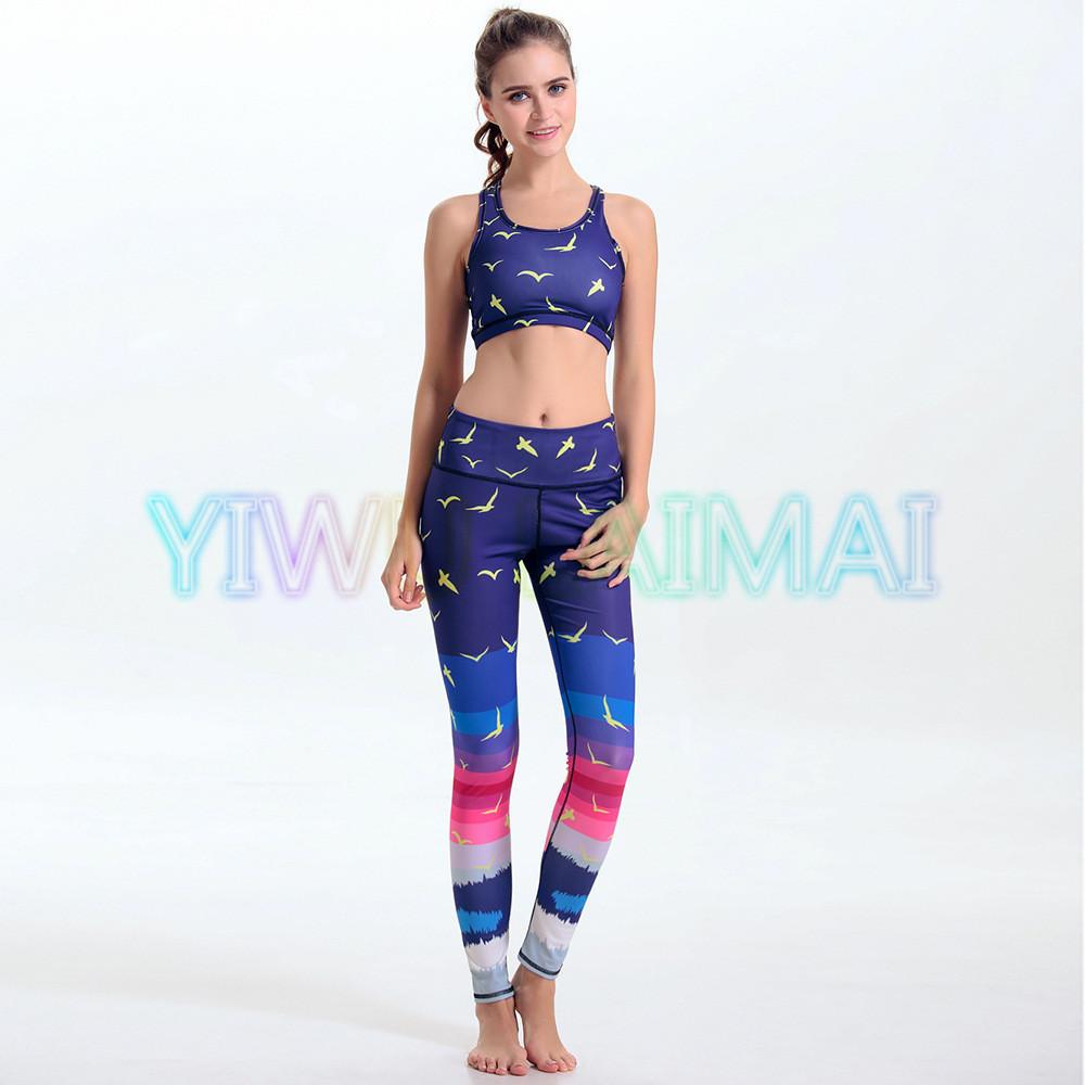 YIWU LAIMAI Women's Yoga sets Royal Blue Rainbow Gradient Neon Color Printed Yoga Tops Bra Fitness Apparel Pant(China (Mainland))