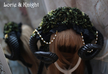 Handmade Black Flower & Sheep Horn Gothic Lolita Cosplay Hat
