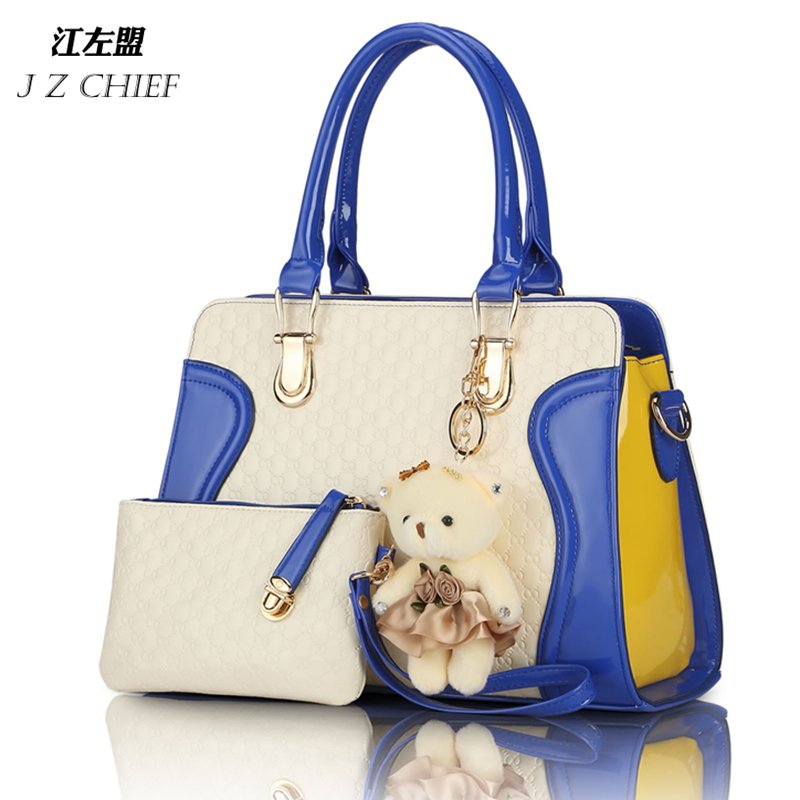 HOT SELLING European American fashion casual alligator pattern handbag patent leather PU shoulder bag with purse