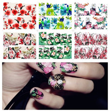 Buy 18set Get 6set Water transfer printing beauty flowers design stylish nail art sticker decal stickers on nails FREE SHIPPING