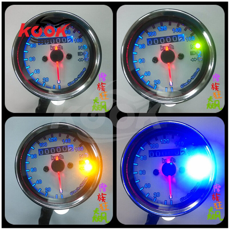 free shipping Universal Motorcycle Dual Odometer Speedometer Gauge LED Backlight Background Signal Light 12V Repair White moto(China (Mainland))