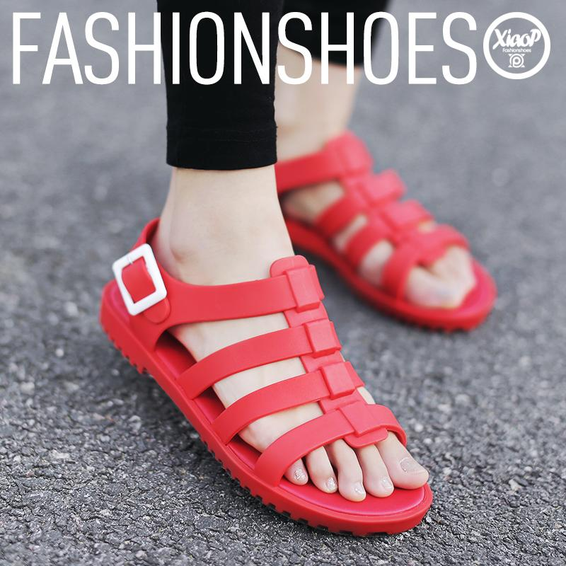2015 summer women casual jelly shoes sandals vintage beach flat black white red size 36 - 40 Leisurely And Cozily store