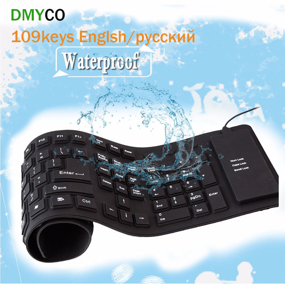 Russian 109 Keys USB wired Portable Silicone soft keyboards Rubber Waterproof Flexible Foldable the table gaming Keyboard For PC(China (Mainland))