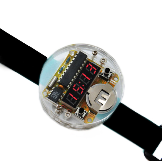Smart Electronic single-chip LED watches electronic clock kit DIY LED Digital Watch Electronic Clock Kit With Transparent Cover(China (Mainland))