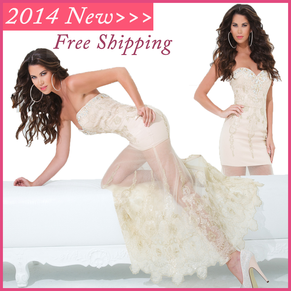 2014 New Arrival Sexy Pale Champagne Prom Dresses Tony With Crystal See Through Women Party Gown(China (Mainland))
