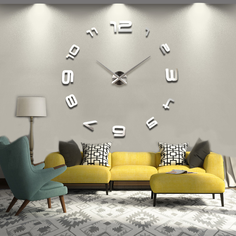 2015 new real home decorations quartz modern wall clock clocks watch horloge 3d diy acrylic mirror stickers free shipping wood(China (Mainland))