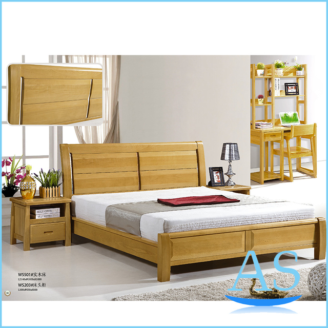 Nature color good quality beech wood bed solid wood king for Beech bedroom furniture