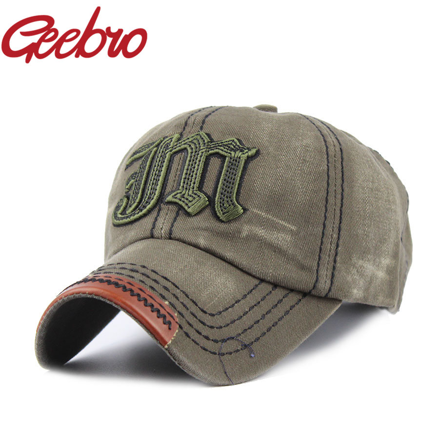 Geebro Fashion Letter M Embroidery Snapback Baseball Cap Outdoor Sports Denim Fabric Hat for Men Women Free Shipping JS019-1(China (Mainland))