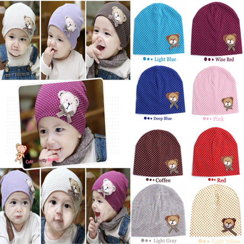1PCS New Style Cute Winter Warm Cotton Bear Baby Kids Girl Toddler Knitted Crochet Beanie Hat Cap(China (Mainland))