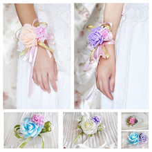 Fashion Artificial Brides Bridesmaid Wedding Bouquet Hand Flowers Wrist Corsages With Silk Bracelet Wedding Decorations(China (Mainland))