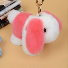 Keychain do cão-Chave Coelho Pele De Coelho Keychain Encantador Bonito Fluffy cadeia Anel Chave Pom Pom Pompom Pele Boneca Carro Saco de Chaveiro K1645(China)