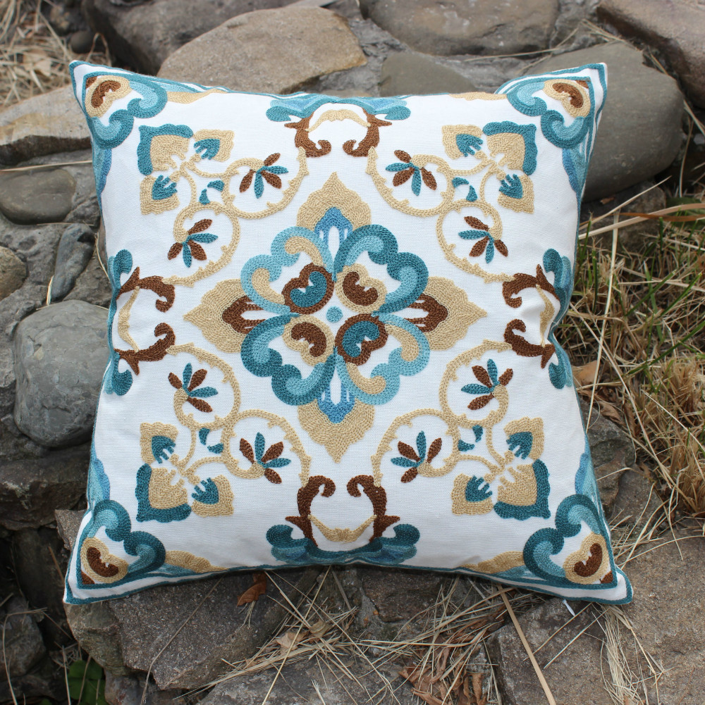 Throw Pillows For A Floral Couch : wholesale beige flower embroidery cotton cushions cover throw pillows case cover sofa chair ...