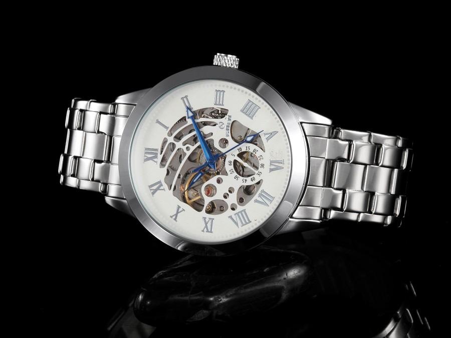 ПОСЕТИТЕЛЬ модного бренда мужские механические часы Спорта водонепроницаемый Световой Автоматическая Мужские часы Наручные часы Досуга Кожа Скелет