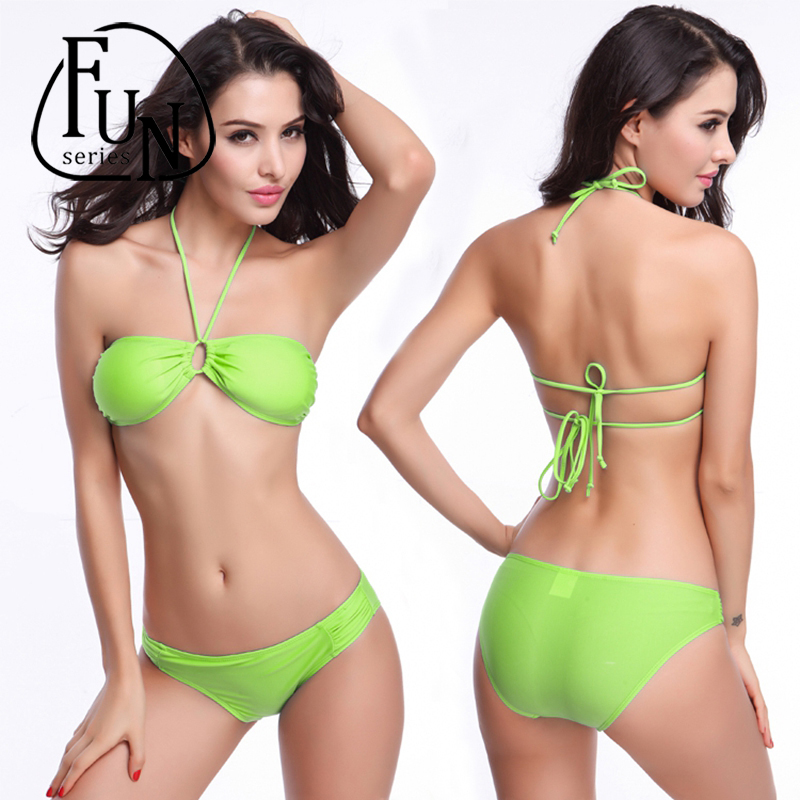 FunSeries M to XL Sexy Push Up Bikini Strappy Swimsuit Swimwear Women Halter Bathing Suit Bather Biquini Maillot(China (Mainland))