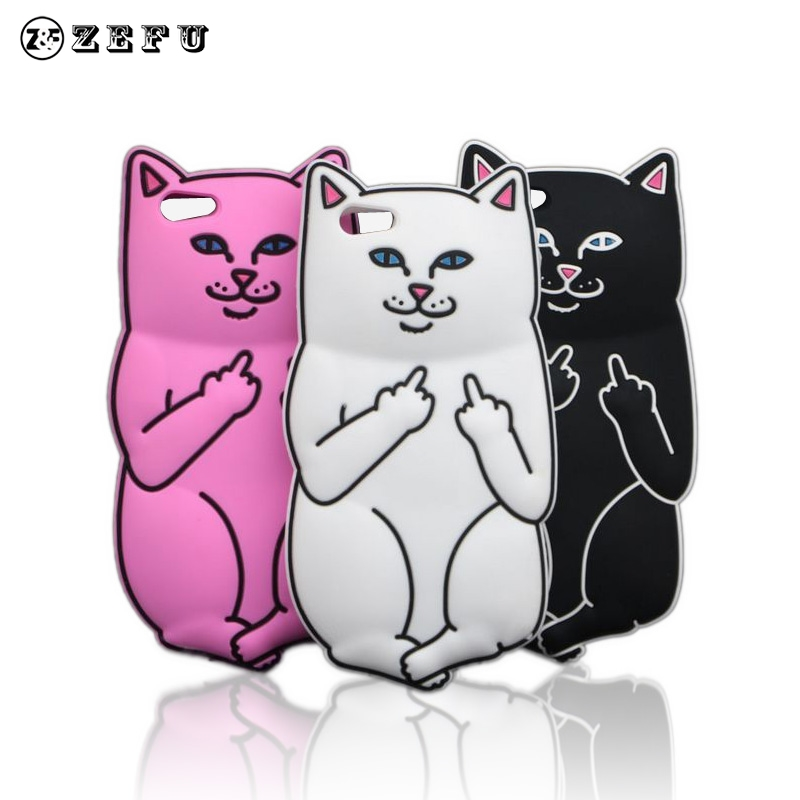 New Ripndipp 3D Cartoon Animals White Corna Cat Soft Case For Apple iPhone 5C Rock Pocket Kitten Cover(China (Mainland))