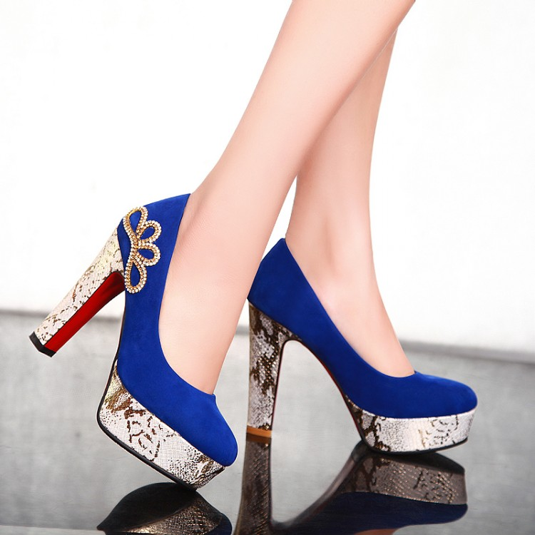 2016 Spring Platform ultra High Heels Bridal Shoes BLACK BLUE RED Thick Heel Rhinestone Red Wedding Shoes Women's Pumps shoes(China (Mainland))