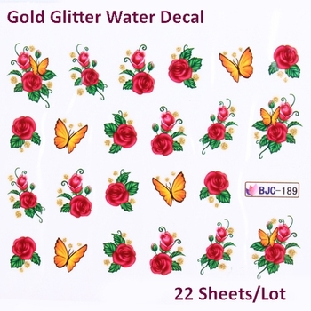 Nail Decals Wraps Butterfly Flowers  Water Transfer Stickers With Gold Glitter  Free Shipping