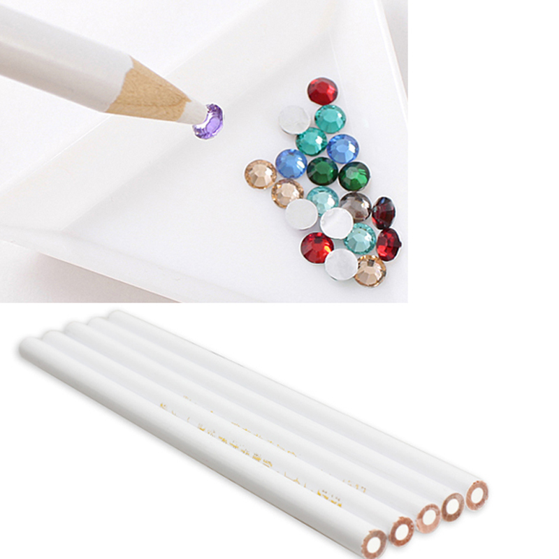 5PCS White Nail Art Rhinestones Picking Dotting Tool 3D Design Painter Pencils Manicure DIY Drill Tool nail art decorations(China (Mainland))