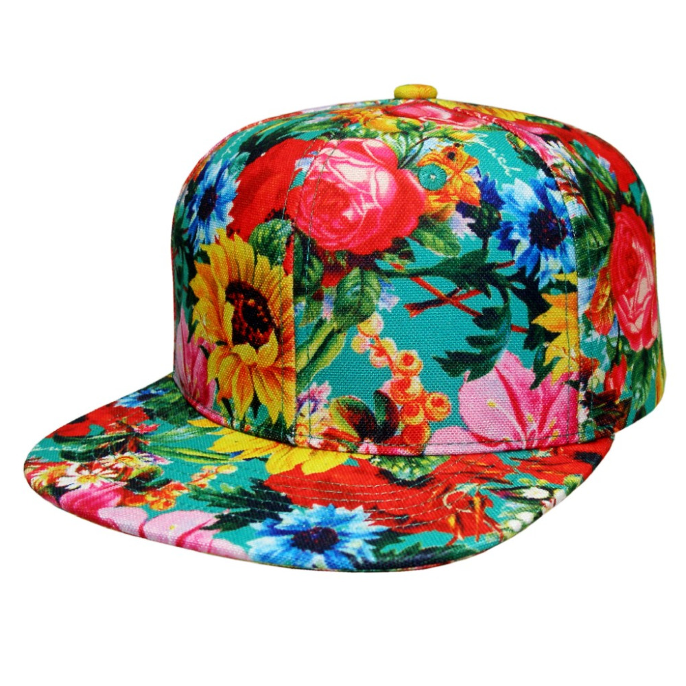 Bright colors and floral prints fashion fat for woman and hat snapback cap and hat(China (Mainland))