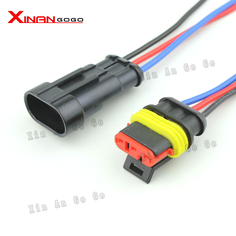 Wholesale 10 Sets Car waterproof connecto Auto 3 Pin Way Sealed Waterproof Electrical Wire Connector Plug Set Connectors<br><br>Aliexpress