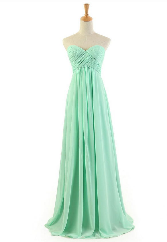 2015 Hot Fashion Free Shipping Mint Green Sweetheart Floor-length Pleated Zipper Back Long Mint Green Chiffon Bridesmaid Dresses