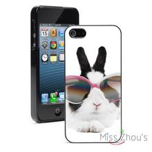 Bunny Rabbit With Glasses Protector back skins mobile cellphone cases for iphone 4/4s 5/5s 5c SE 6/6s plus ipod touch 4/5/6