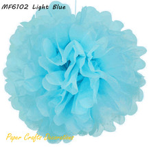 25pcs/lot 6inch(15cm) Light Blue Tissue Paper Pom Poms Flowers Baby Shower Decorations 34 Colors Free Shipping(China (Mainland))